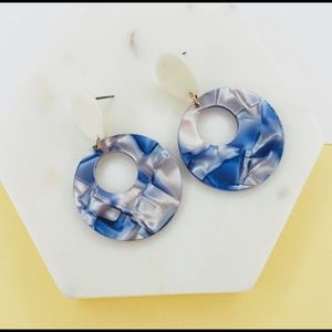 Blue and White Acrylic Plate Earrings w/ Post